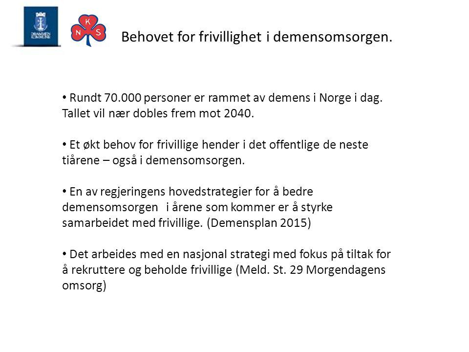 Behovet for frivillighet i demensomsorgen. • Rundt 70.000 personer er rammet av demens i Norge i dag. Tallet vil nær dobles frem mot 2040. • Et økt be