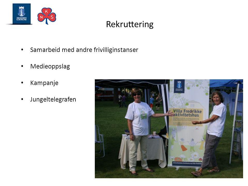 Rekruttering • Samarbeid med andre frivilliginstanser • Medieoppslag • Kampanje • Jungeltelegrafen