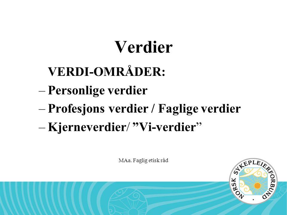 """MAa. Faglig etisk råd Verdier VERDI-OMRÅDER: –Personlige verdier –Profesjons verdier / Faglige verdier –Kjerneverdier/ """"Vi-verdier"""""""