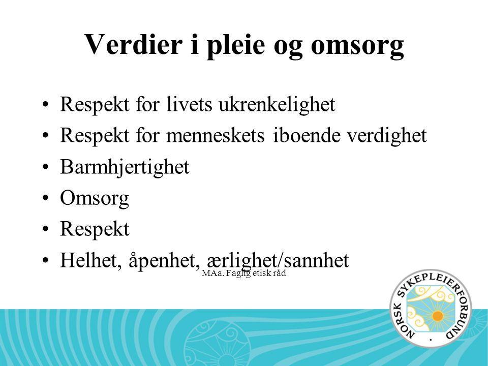 MAa. Faglig etisk råd Verdier i pleie og omsorg •Respekt for livets ukrenkelighet •Respekt for menneskets iboende verdighet •Barmhjertighet •Omsorg •R