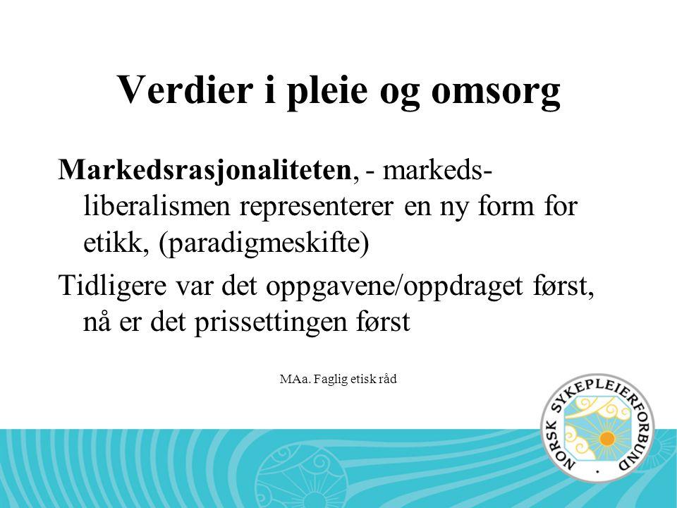 MAa. Faglig etisk råd Verdier i pleie og omsorg Markedsrasjonaliteten, - markeds- liberalismen representerer en ny form for etikk, (paradigmeskifte) T