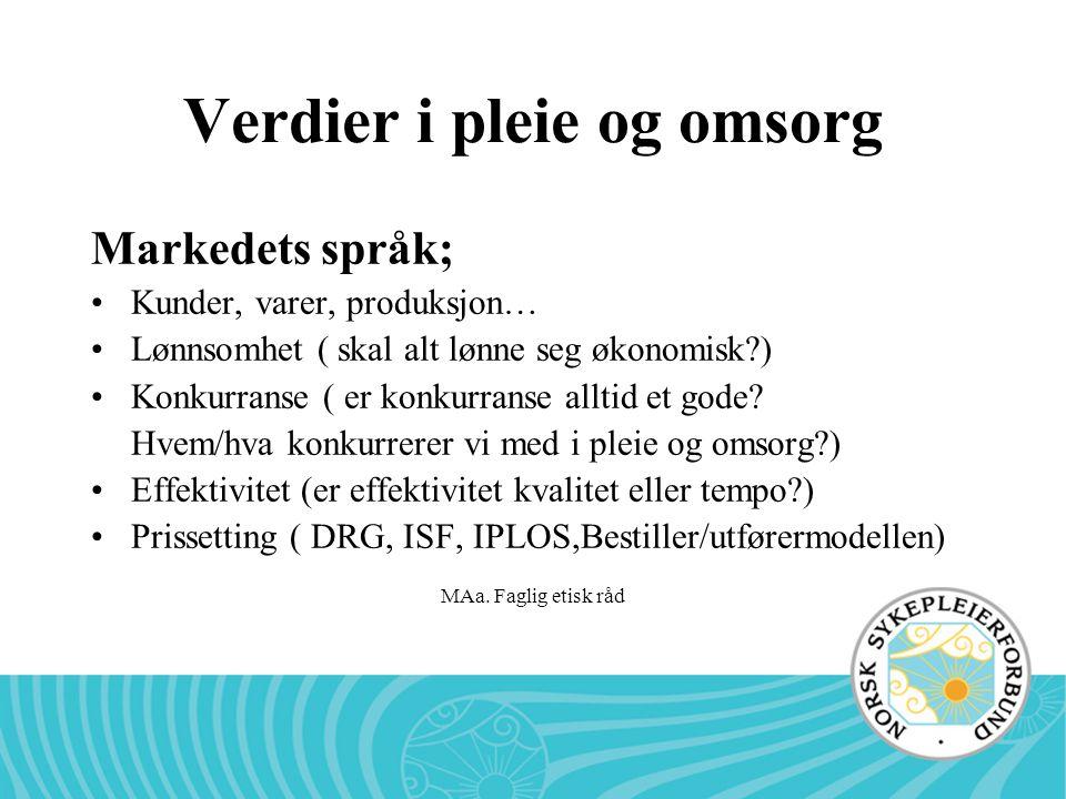 MAa. Faglig etisk råd Verdier i pleie og omsorg Markedets språk; •Kunder, varer, produksjon… •Lønnsomhet ( skal alt lønne seg økonomisk?) •Konkurranse