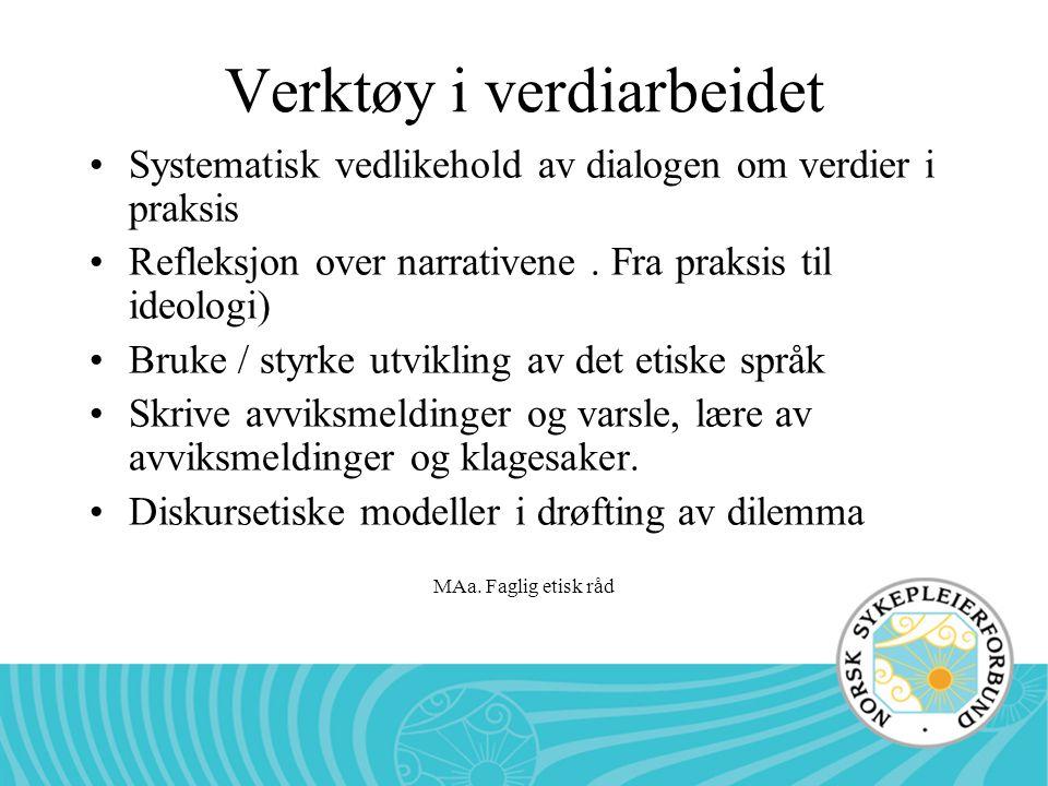 MAa. Faglig etisk råd Verktøy i verdiarbeidet •Systematisk vedlikehold av dialogen om verdier i praksis •Refleksjon over narrativene. Fra praksis til