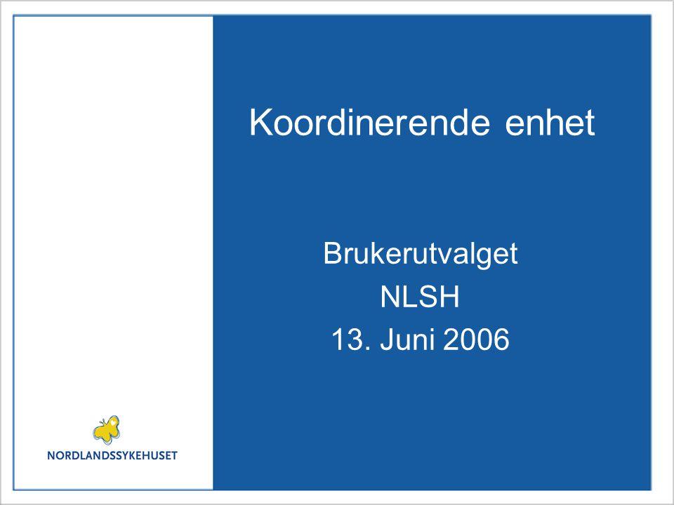 Koordinerende enhet Brukerutvalget NLSH 13. Juni 2006