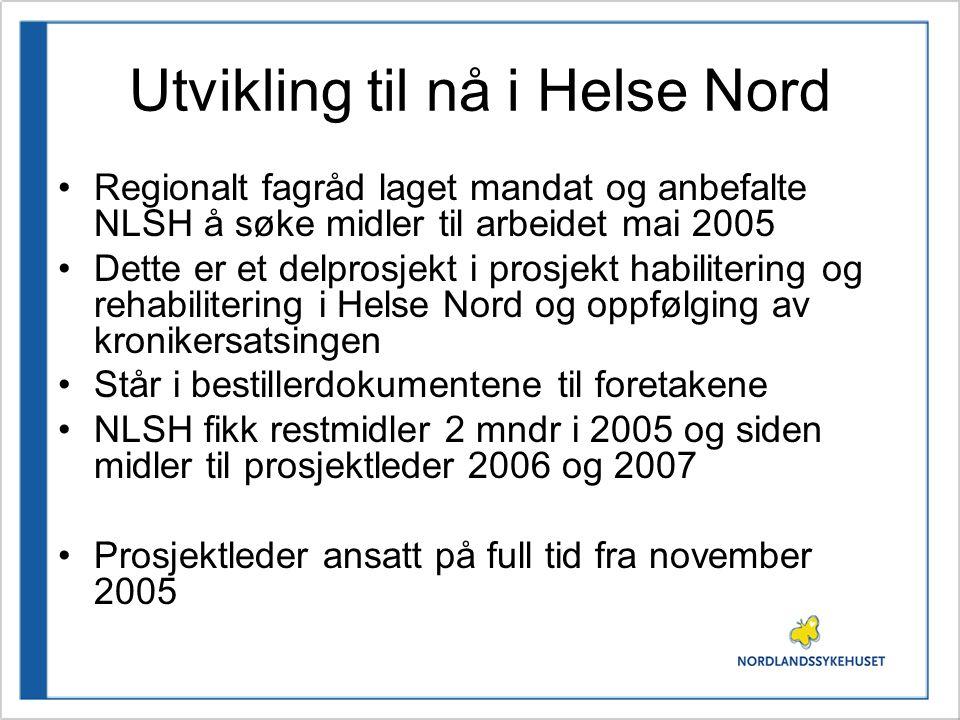 Utvikling til nå i Helse Nord •Regionalt fagråd laget mandat og anbefalte NLSH å søke midler til arbeidet mai 2005 •Dette er et delprosjekt i prosjekt habilitering og rehabilitering i Helse Nord og oppfølging av kronikersatsingen •Står i bestillerdokumentene til foretakene •NLSH fikk restmidler 2 mndr i 2005 og siden midler til prosjektleder 2006 og 2007 •Prosjektleder ansatt på full tid fra november 2005