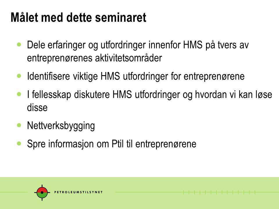 Målet med dette seminaret  Dele erfaringer og utfordringer innenfor HMS på tvers av entreprenørenes aktivitetsområder  Identifisere viktige HMS utfo