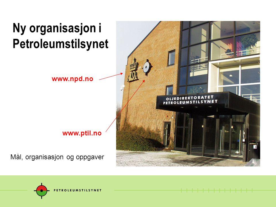 Ny organisasjon i Petroleumstilsynet Mål, organisasjon og oppgaver www.npd.no www.ptil.no