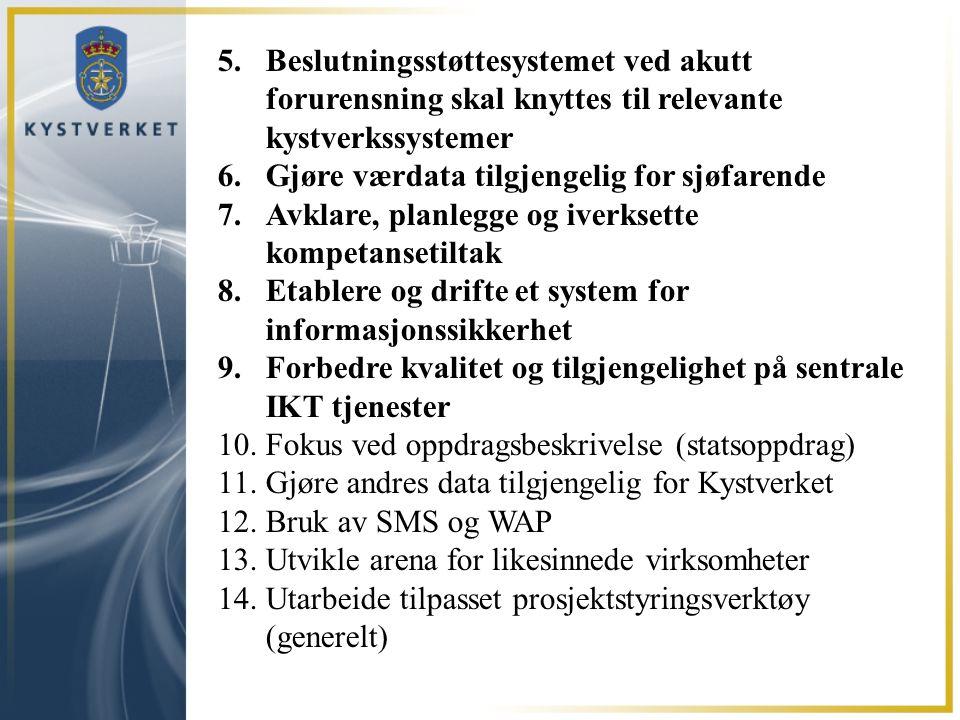 5.Beslutningsstøttesystemet ved akutt forurensning skal knyttes til relevante kystverkssystemer 6.Gjøre værdata tilgjengelig for sjøfarende 7.Avklare,