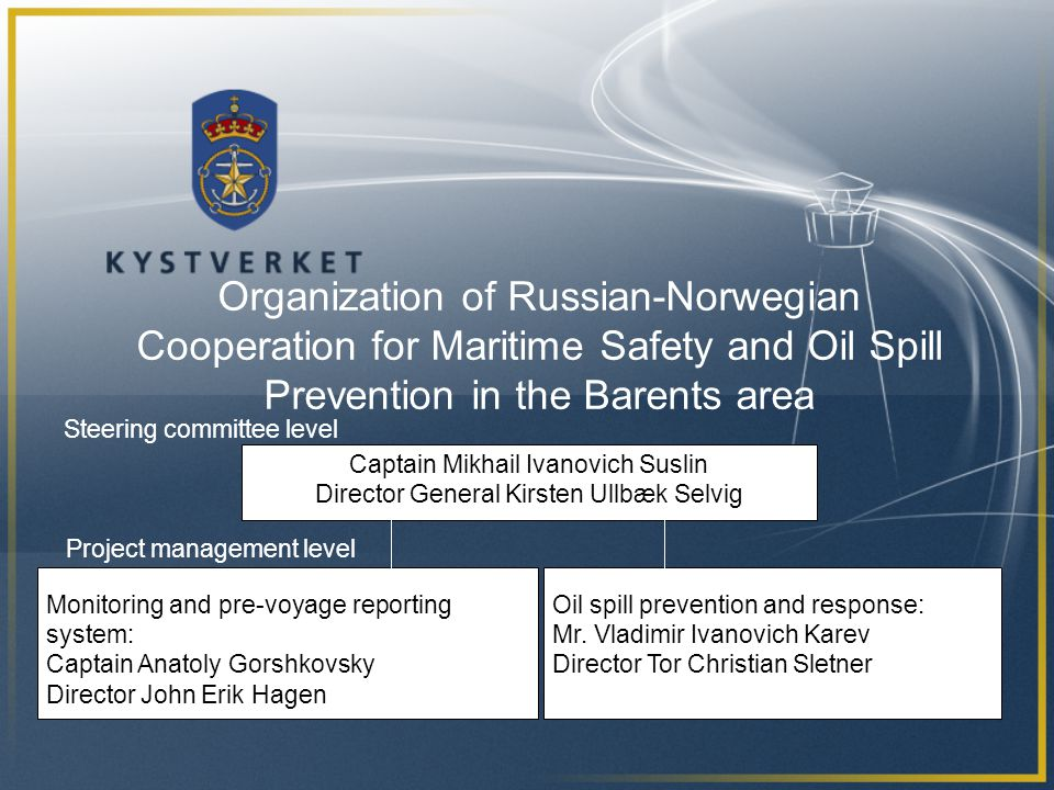Organization of Russian-Norwegian Cooperation for Maritime Safety and Oil Spill Prevention in the Barents area Captain Mikhail Ivanovich Suslin Director General Kirsten Ullbæk Selvig Monitoring and pre-voyage reporting system: Captain Anatoly Gorshkovsky Director John Erik Hagen Oil spill prevention and response: Mr.