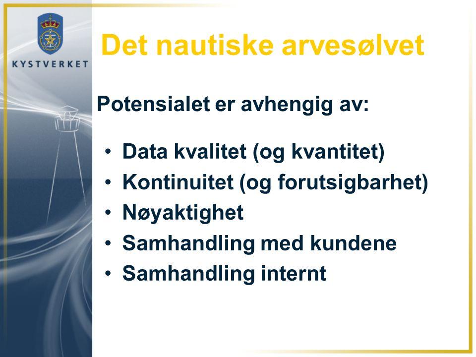 Det nautiske arvesølvet •Data kvalitet (og kvantitet) •Kontinuitet (og forutsigbarhet) •Nøyaktighet •Samhandling med kundene •Samhandling internt Pote