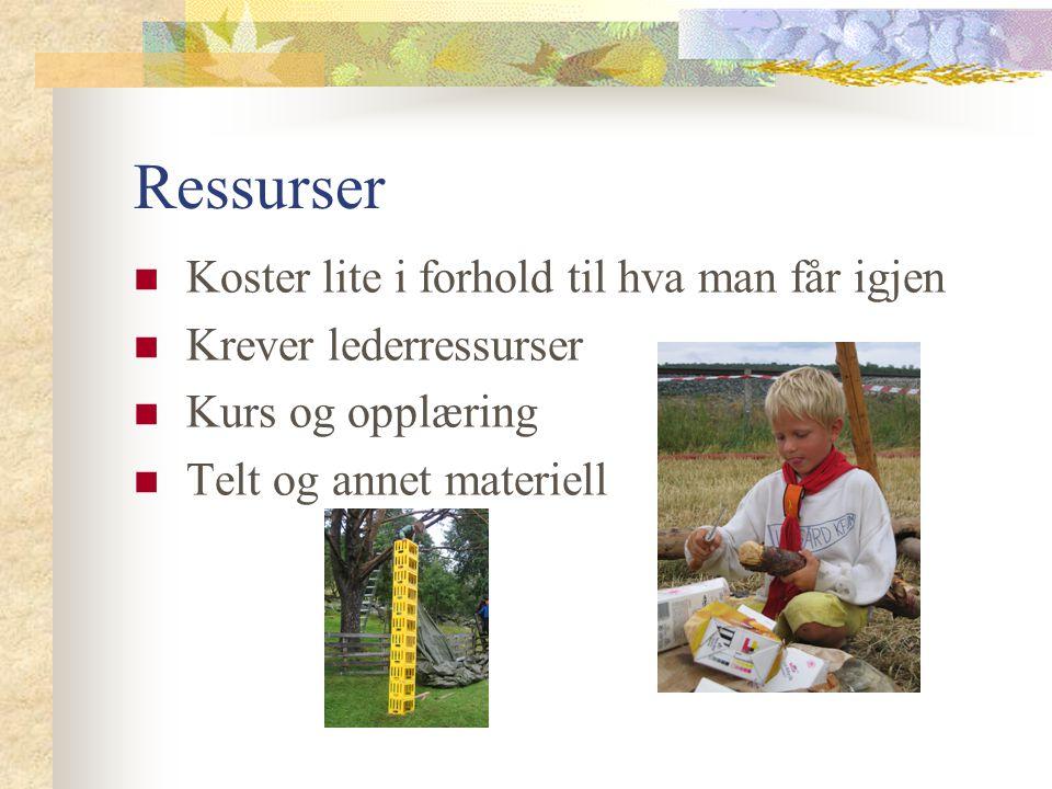 Ressurser  Koster lite i forhold til hva man får igjen  Krever lederressurser  Kurs og opplæring  Telt og annet materiell