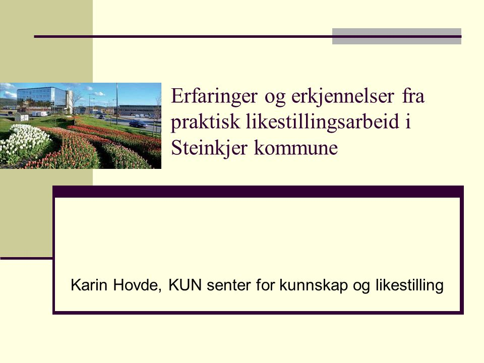 Erfaringer og erkjennelser fra praktisk likestillingsarbeid i Steinkjer kommune Karin Hovde, KUN senter for kunnskap og likestilling