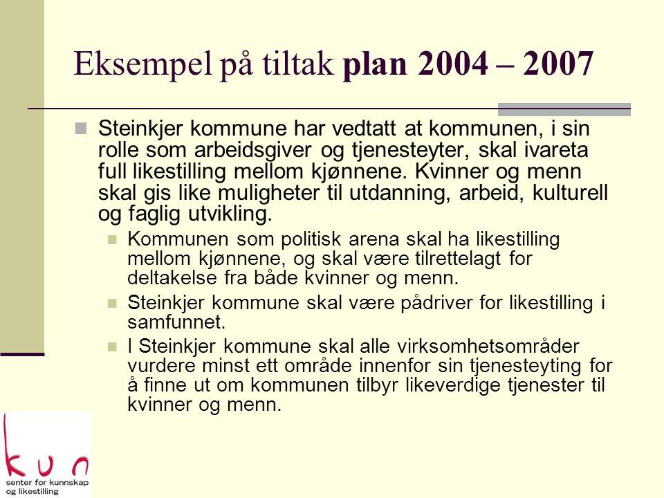 Eksempel på tiltak plan 2004 – 2007  Steinkjer kommune har vedtatt at kommunen, i sin rolle som arbeidsgiver og tjenesteyter, skal ivareta full likestilling mellom kjønnene.