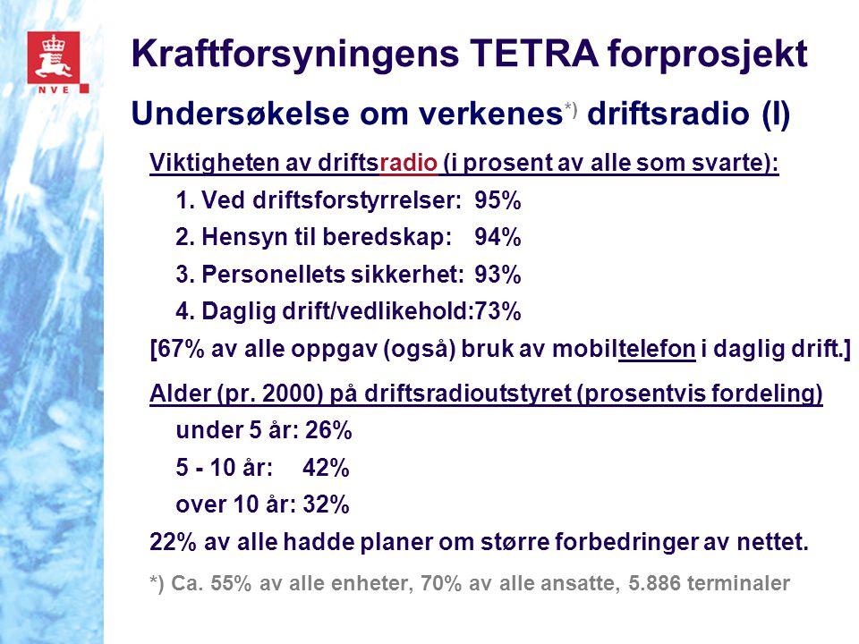Kraftforsyningens TETRA forprosjekt Undersøkelse om verkenes *) driftsradio (I) Viktigheten av driftsradio (i prosent av alle som svarte): 1.