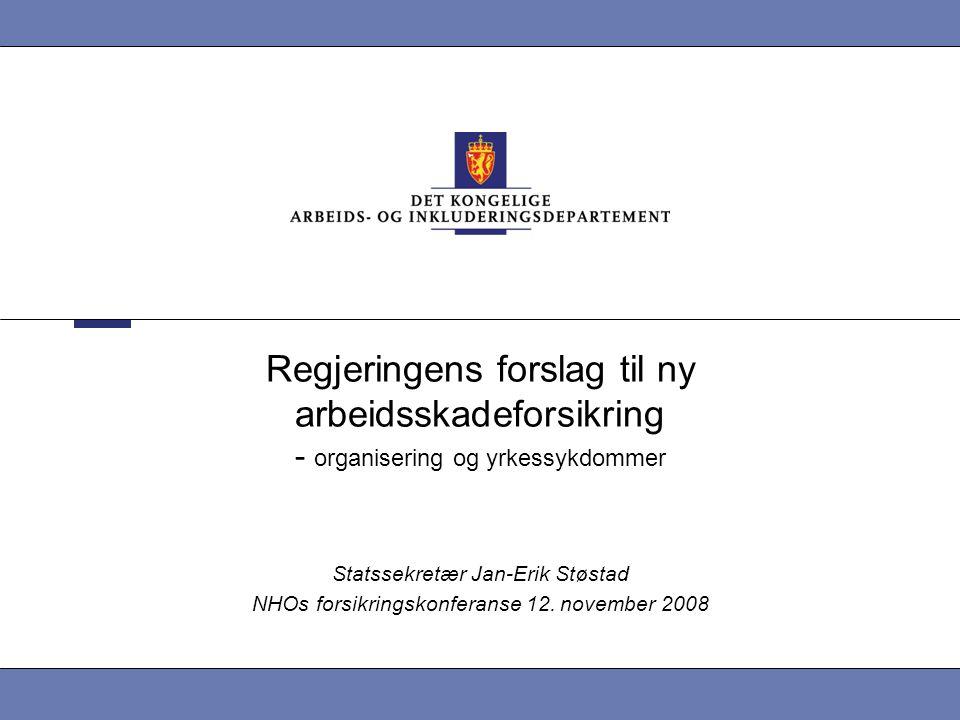 Regjeringens forslag til ny arbeidsskadeforsikring - organisering og yrkessykdommer Statssekretær Jan-Erik Støstad NHOs forsikringskonferanse 12. nove