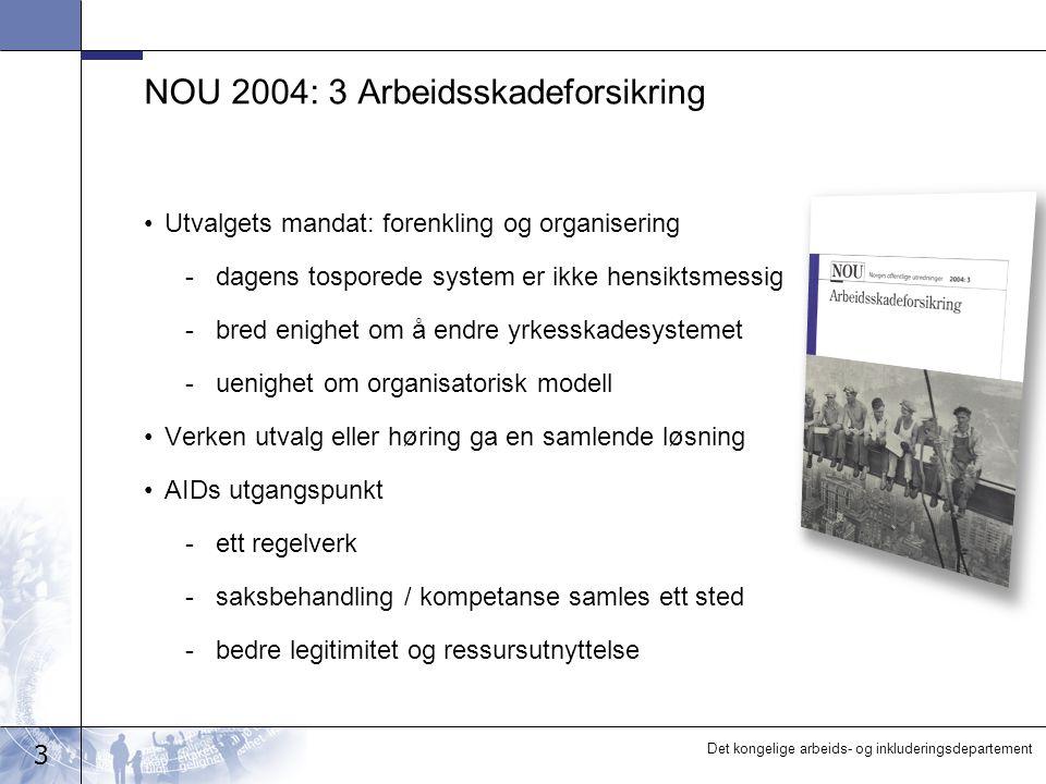 3 Det kongelige arbeids- og inkluderingsdepartement NOU 2004: 3 Arbeidsskadeforsikring •Utvalgets mandat: forenkling og organisering -dagens tosporede