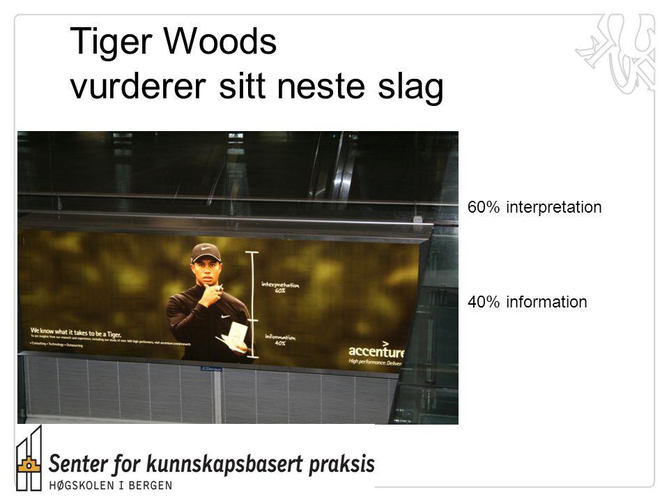 Tiger Woods vurderer sitt neste slag 40% information 60% interpretation