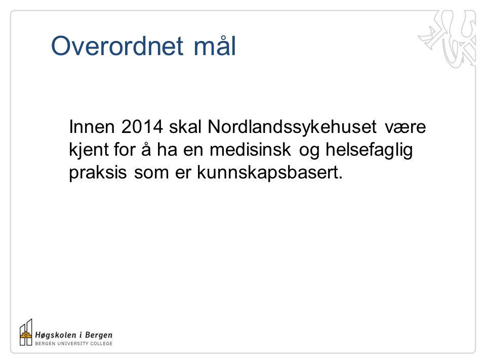 Overordnet mål Innen 2014 skal Nordlandssykehuset være kjent for å ha en medisinsk og helsefaglig praksis som er kunnskapsbasert.