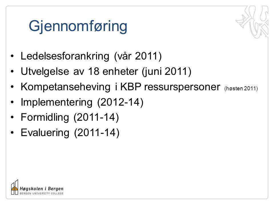 Gjennomføring •Ledelsesforankring (vår 2011) •Utvelgelse av 18 enheter (juni 2011) •Kompetanseheving i KBP ressurspersoner (høsten 2011) •Implementering (2012-14) •Formidling (2011-14) •Evaluering (2011-14)