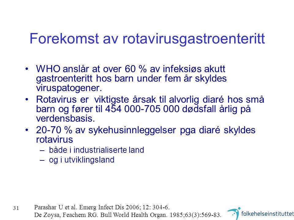31 Forekomst av rotavirusgastroenteritt •WHO anslår at over 60 % av infeksiøs akutt gastroenteritt hos barn under fem år skyldes viruspatogener. •Rota