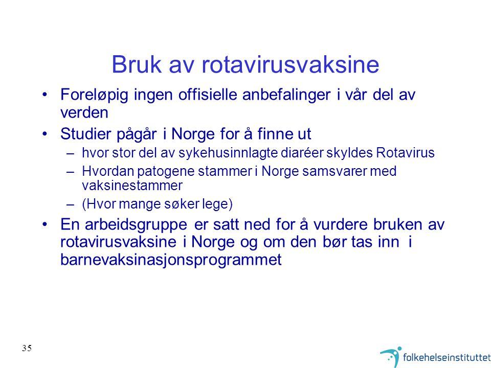 35 Bruk av rotavirusvaksine •Foreløpig ingen offisielle anbefalinger i vår del av verden •Studier pågår i Norge for å finne ut –hvor stor del av sykeh