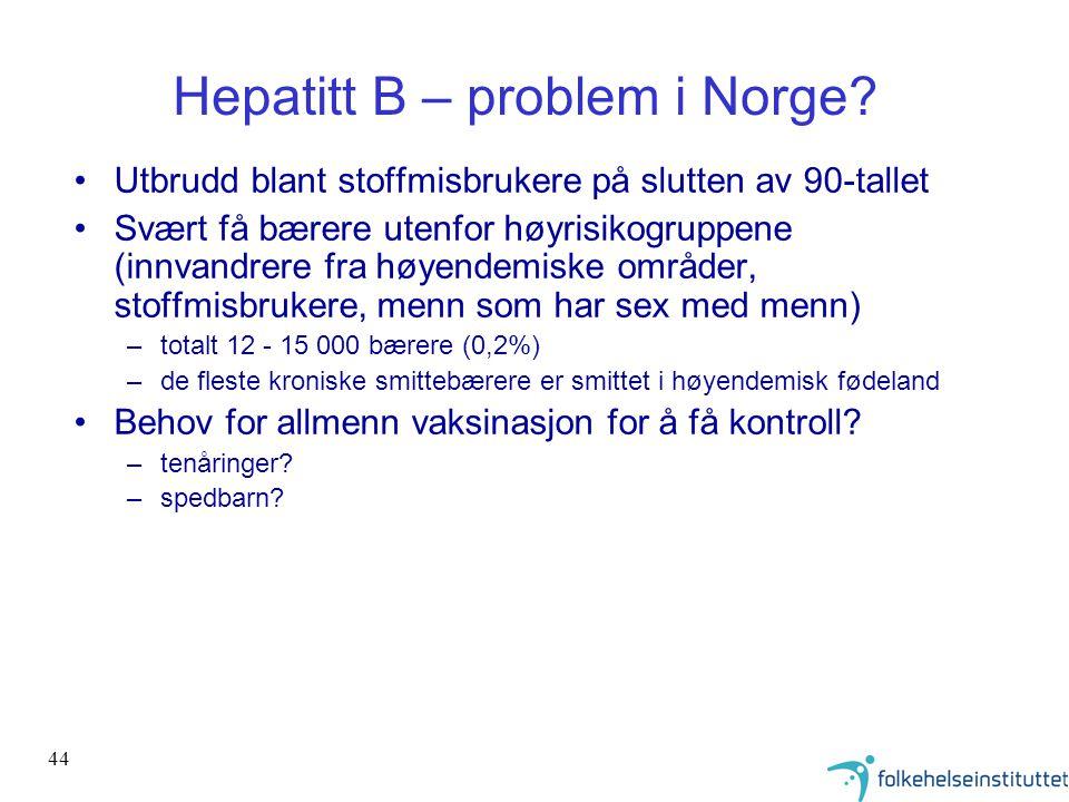 44 Hepatitt B – problem i Norge? •Utbrudd blant stoffmisbrukere på slutten av 90-tallet •Svært få bærere utenfor høyrisikogruppene (innvandrere fra hø