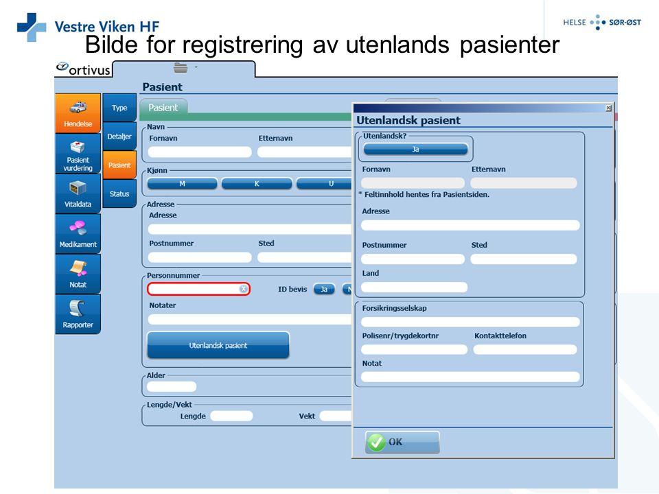 Bilde for registrering av utenlands pasienter