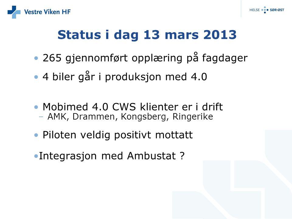 Status i dag 13 mars 2013 • 265 gjennomført opplæring på fagdager • 4 biler går i produksjon med 4.0 • Mobimed 4.0 CWS klienter er i drift –AMK, Dramm