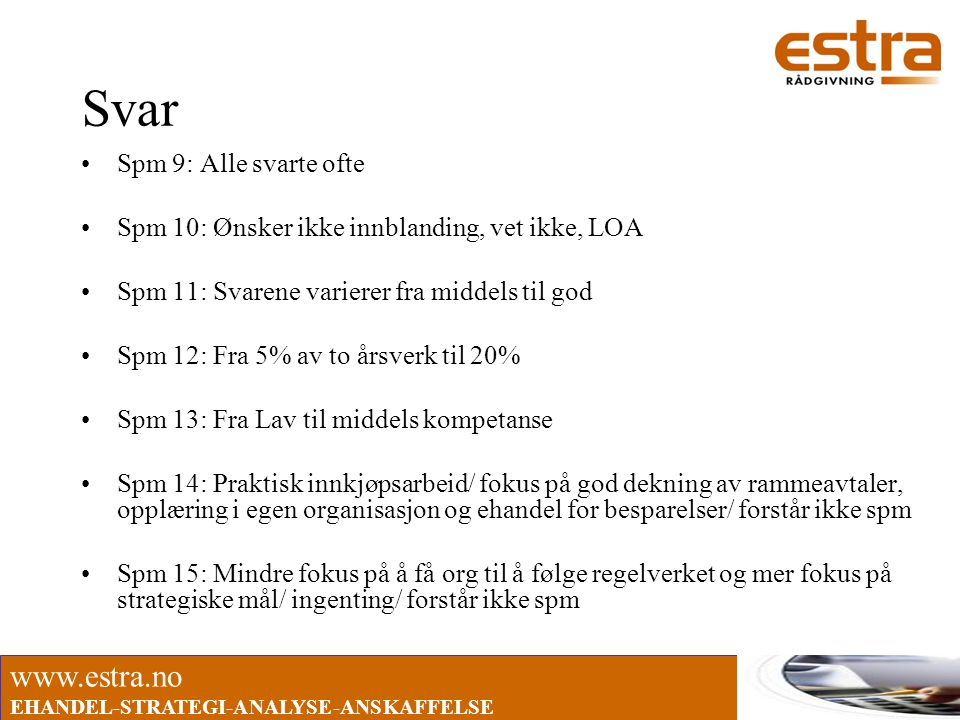 www.estra.no EHANDEL-STRATEGI-ANALYSE-ANSKAFFELSE Svar •Spm 9: Alle svarte ofte •Spm 10: Ønsker ikke innblanding, vet ikke, LOA •Spm 11: Svarene varie