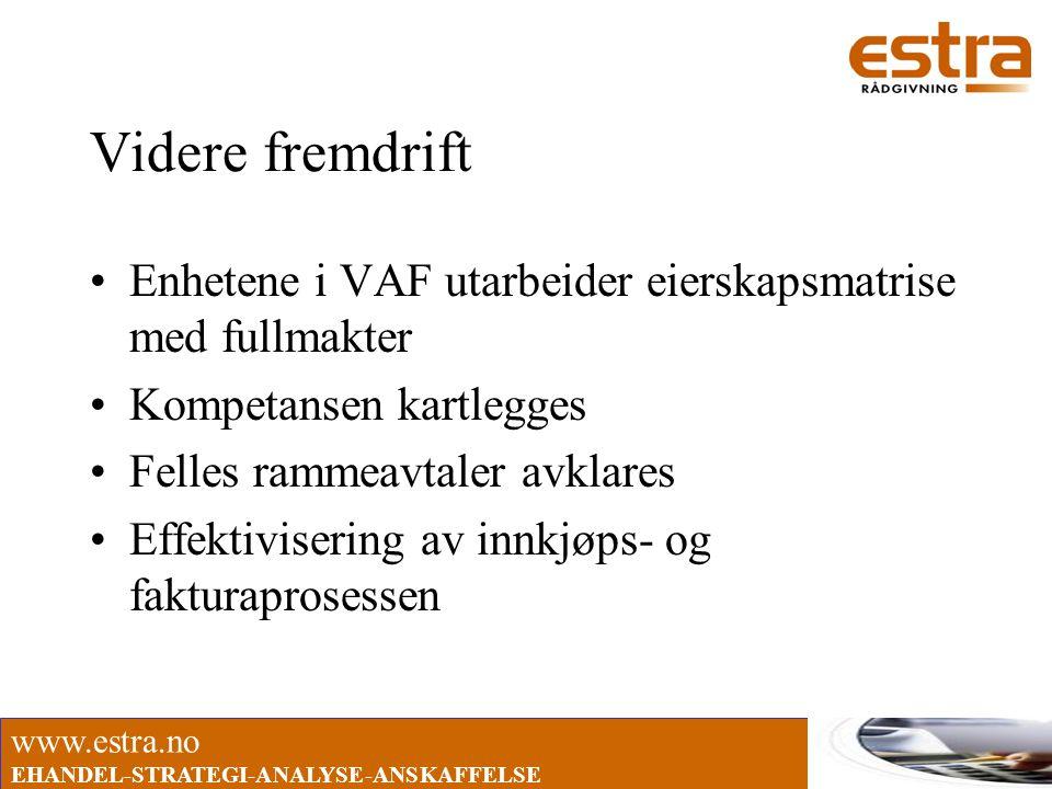 www.estra.no EHANDEL-STRATEGI-ANALYSE-ANSKAFFELSE Videre fremdrift •Enhetene i VAF utarbeider eierskapsmatrise med fullmakter •Kompetansen kartlegges