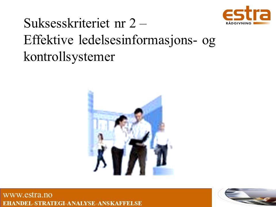 www.estra.no EHANDEL-STRATEGI-ANALYSE-ANSKAFFELSE Suksesskriteriet nr 2 – Effektive ledelsesinformasjons- og kontrollsystemer