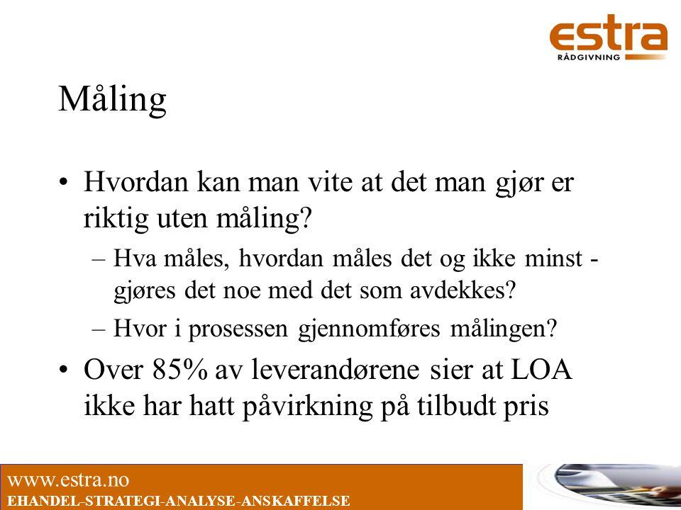 www.estra.no EHANDEL-STRATEGI-ANALYSE-ANSKAFFELSE Måling •Hvordan kan man vite at det man gjør er riktig uten måling? –Hva måles, hvordan måles det og