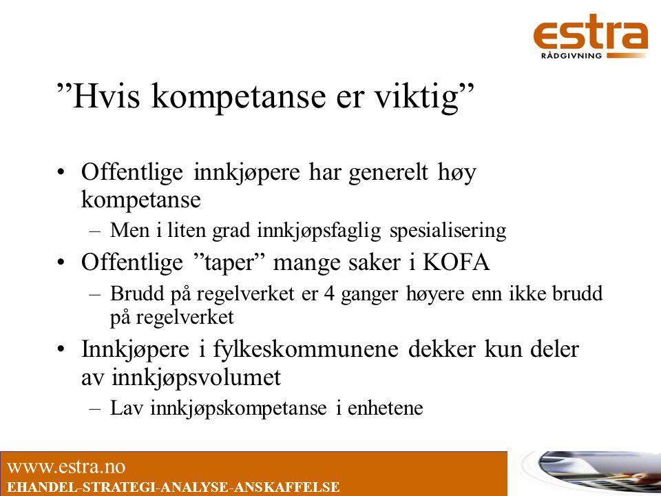 """www.estra.no EHANDEL-STRATEGI-ANALYSE-ANSKAFFELSE """"Hvis kompetanse er viktig"""" •Offentlige innkjøpere har generelt høy kompetanse –Men i liten grad inn"""