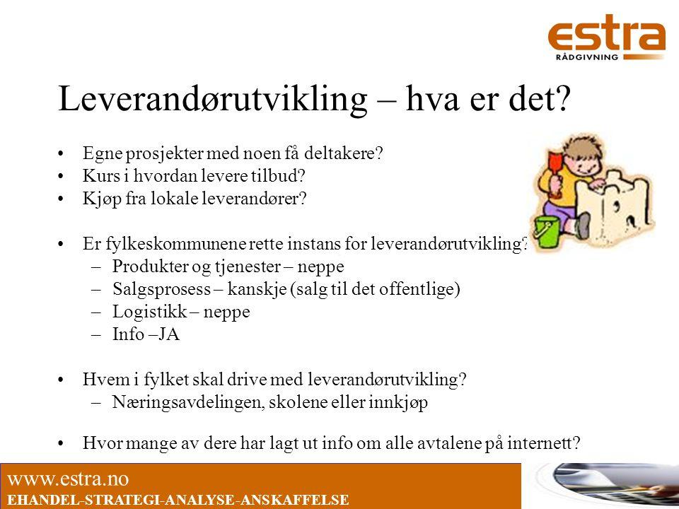 www.estra.no EHANDEL-STRATEGI-ANALYSE-ANSKAFFELSE Leverandørutvikling – hva er det? •Egne prosjekter med noen få deltakere? •Kurs i hvordan levere til