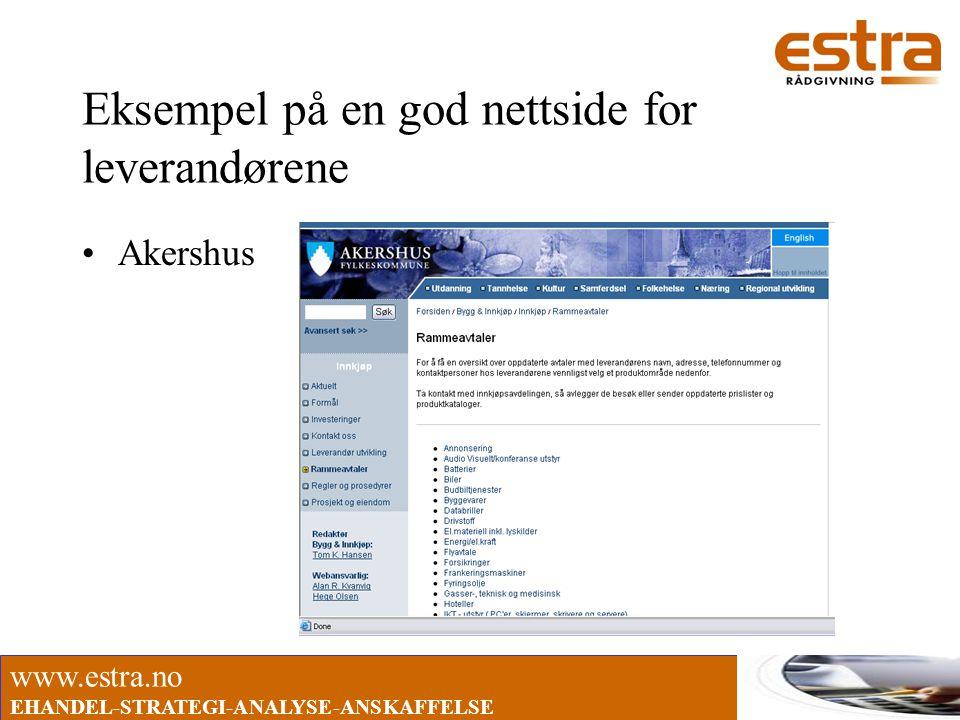 www.estra.no EHANDEL-STRATEGI-ANALYSE-ANSKAFFELSE Eksempel på en god nettside for leverandørene •Akershus