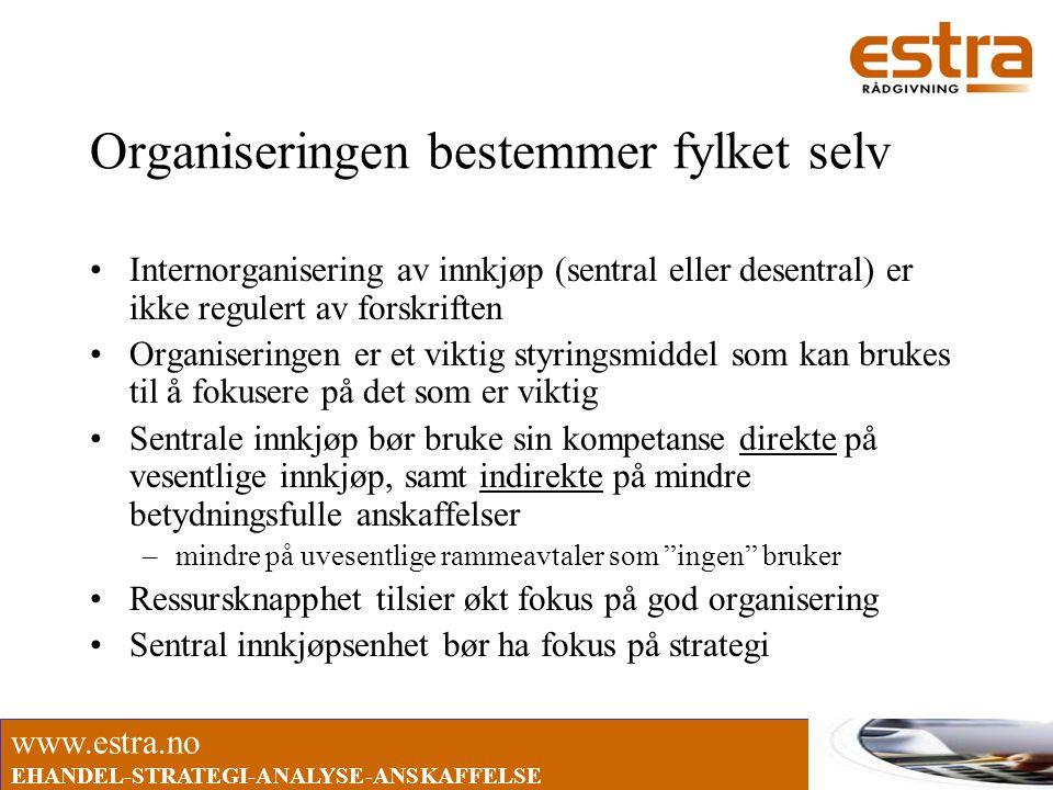 www.estra.no EHANDEL-STRATEGI-ANALYSE-ANSKAFFELSE Organiseringen bestemmer fylket selv •Internorganisering av innkjøp (sentral eller desentral) er ikk