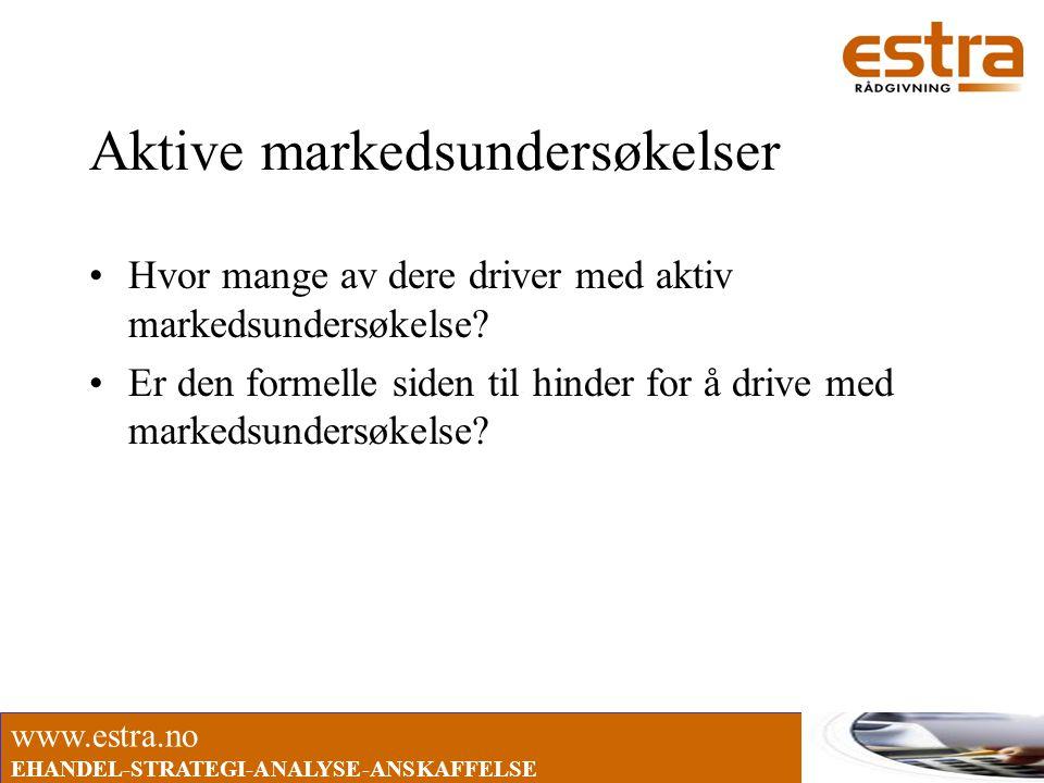 www.estra.no EHANDEL-STRATEGI-ANALYSE-ANSKAFFELSE Aktive markedsundersøkelser •Hvor mange av dere driver med aktiv markedsundersøkelse? •Er den formel