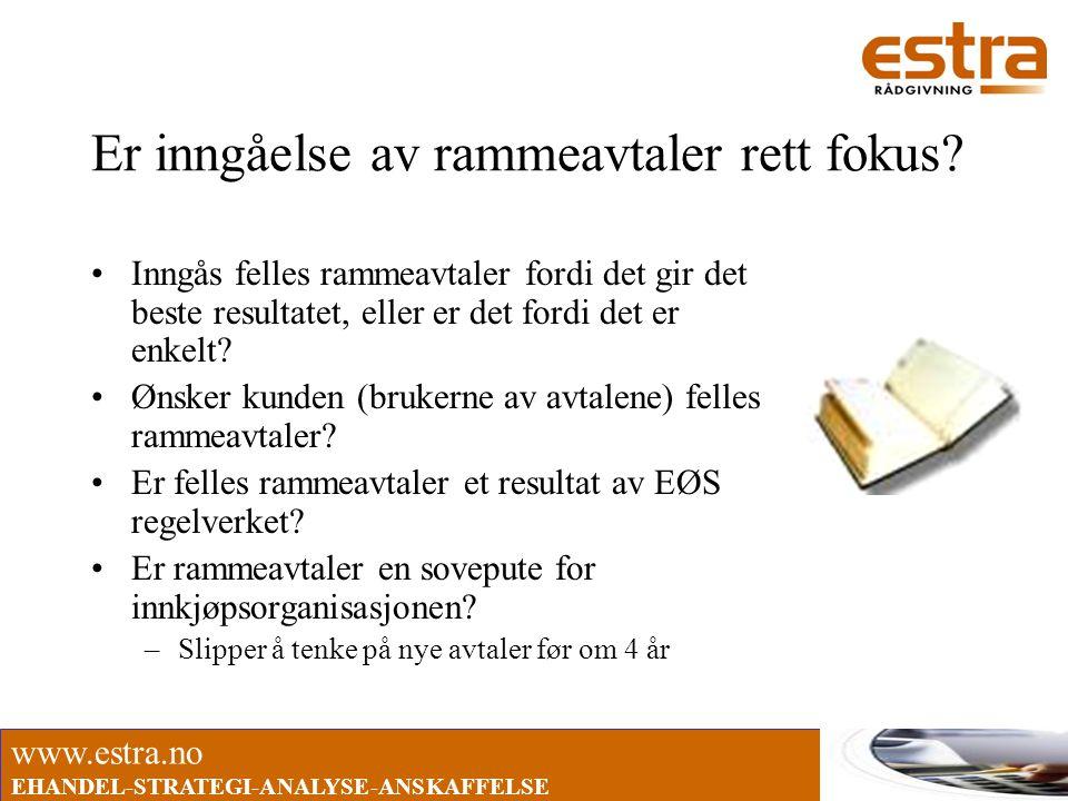 www.estra.no EHANDEL-STRATEGI-ANALYSE-ANSKAFFELSE Er inngåelse av rammeavtaler rett fokus? •Inngås felles rammeavtaler fordi det gir det beste resulta