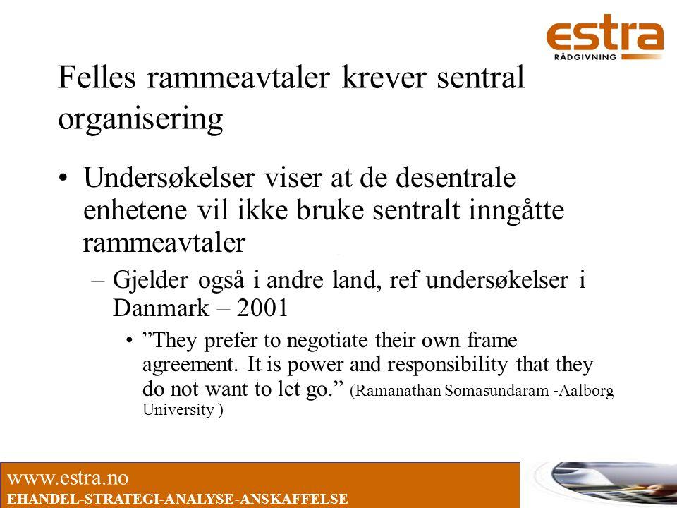 www.estra.no EHANDEL-STRATEGI-ANALYSE-ANSKAFFELSE Felles rammeavtaler krever sentral organisering •Undersøkelser viser at de desentrale enhetene vil i