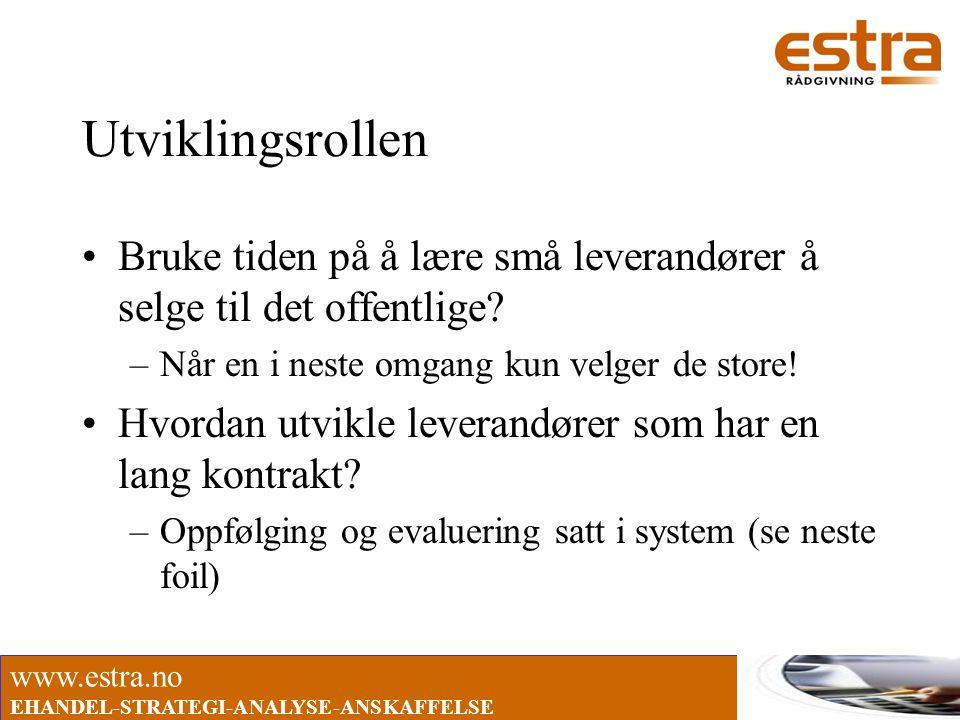 www.estra.no EHANDEL-STRATEGI-ANALYSE-ANSKAFFELSE Utviklingsrollen •Bruke tiden på å lære små leverandører å selge til det offentlige? –Når en i neste