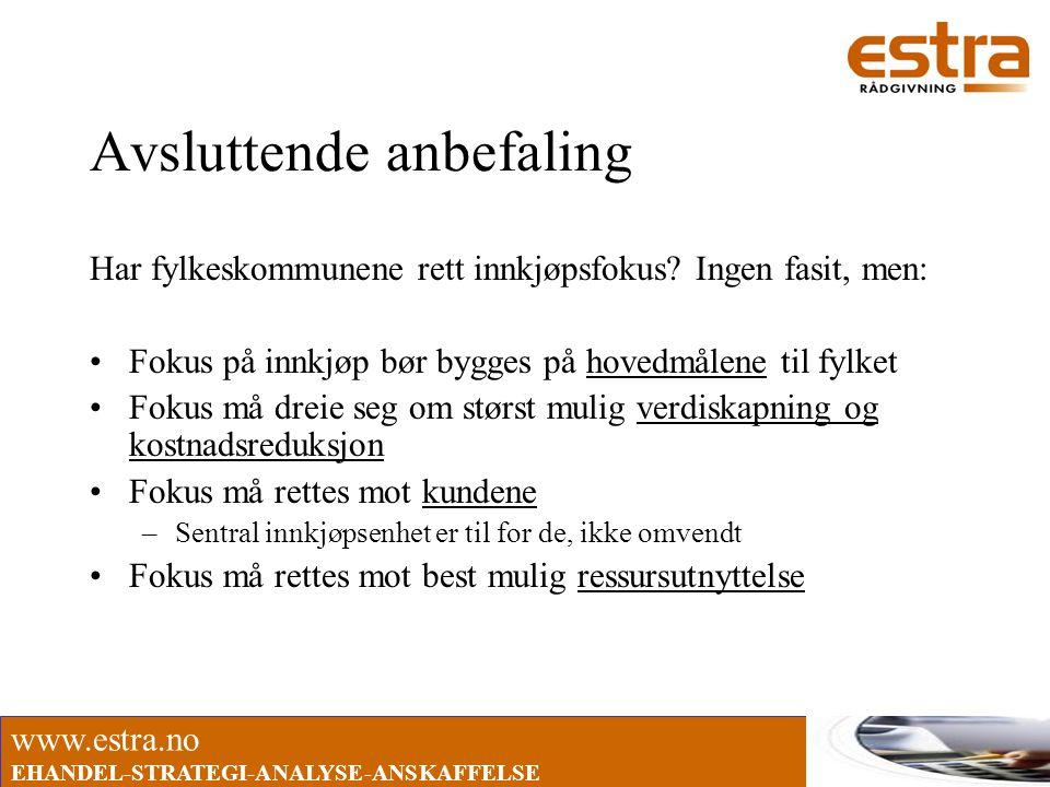 www.estra.no EHANDEL-STRATEGI-ANALYSE-ANSKAFFELSE Avsluttende anbefaling Har fylkeskommunene rett innkjøpsfokus? Ingen fasit, men: •Fokus på innkjøp b