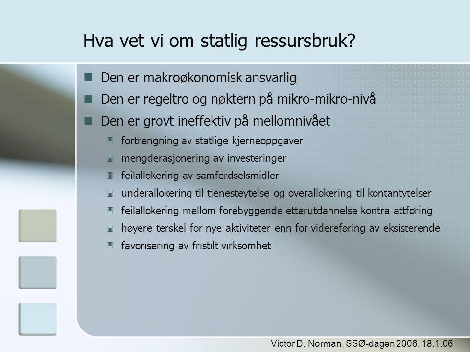 Victor D. Norman, SSØ-dagen 2006, 18.1.06 Hva vet vi om statlig ressursbruk?  Den er makroøkonomisk ansvarlig  Den er regeltro og nøktern på mikro-m