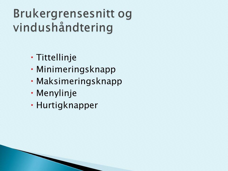  Tittellinje  Minimeringsknapp  Maksimeringsknapp  Menylinje  Hurtigknapper