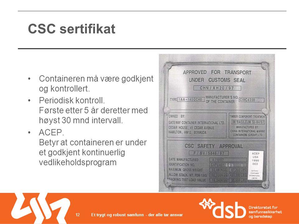Et trygt og robust samfunn - der alle tar ansvar12 CSC sertifikat •Containeren må være godkjent og kontrollert. •Periodisk kontroll. Første etter 5 år