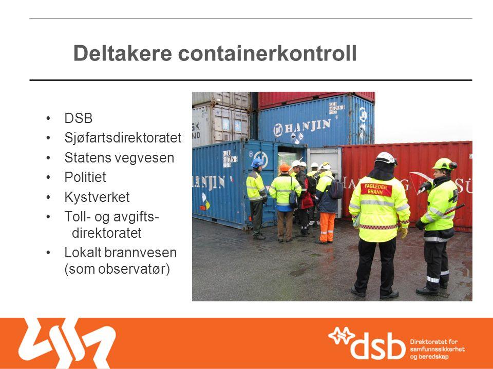 Deltakere containerkontroll •DSB •Sjøfartsdirektoratet •Statens vegvesen •Politiet •Kystverket •Toll- og avgifts- direktoratet •Lokalt brannvesen (som