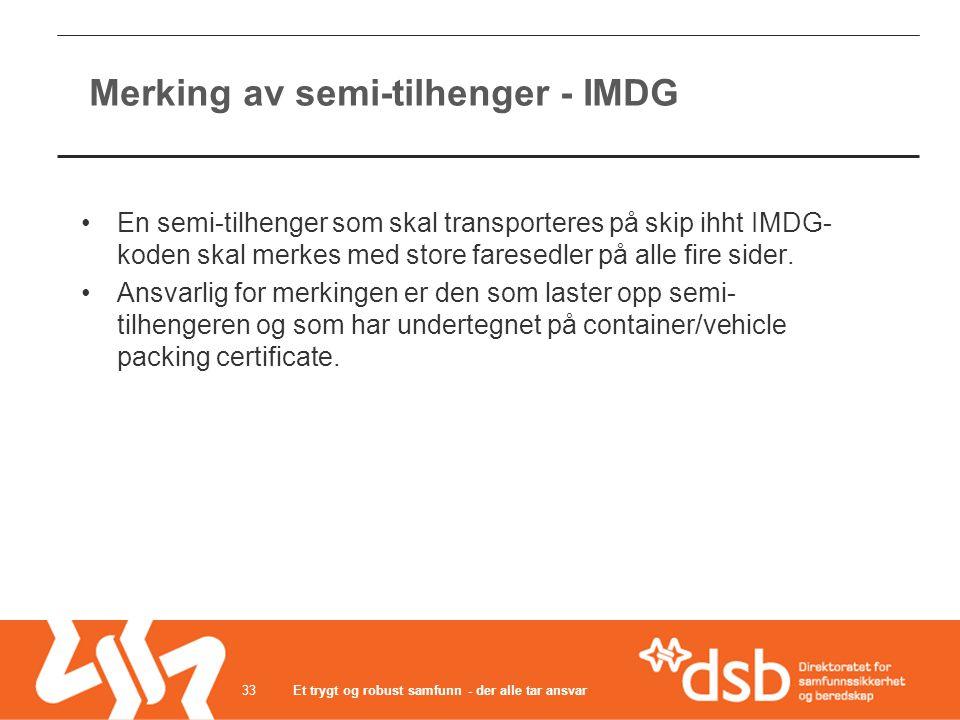 Merking av semi-tilhenger - IMDG •En semi-tilhenger som skal transporteres på skip ihht IMDG- koden skal merkes med store faresedler på alle fire side