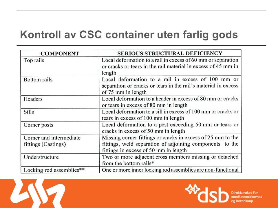Kontroll av CSC container uten farlig gods