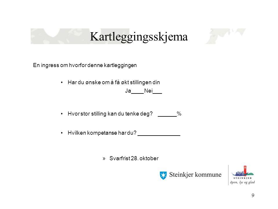 Resultater av kartlegging •294 leverte svarskjema •261 ønsker større stilling •121 av disse ønsker 100 % 02.07.2014Steinkjer Kommune - tema/tittel10