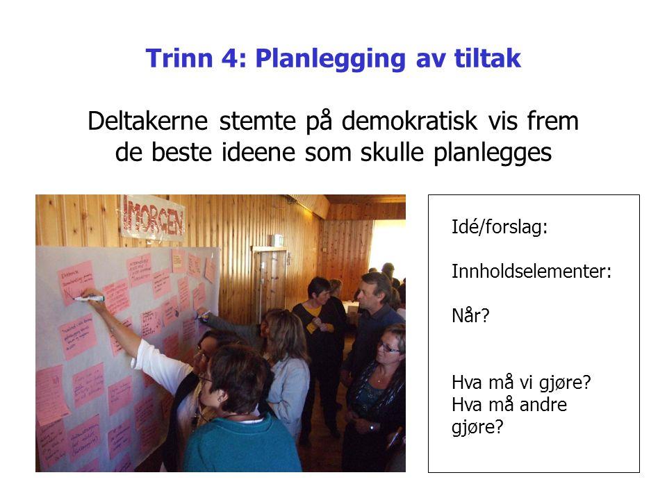 Trinn 4: Planlegging av tiltak Deltakerne stemte på demokratisk vis frem de beste ideene som skulle planlegges Idé/forslag: Innholdselementer: Når? Hv