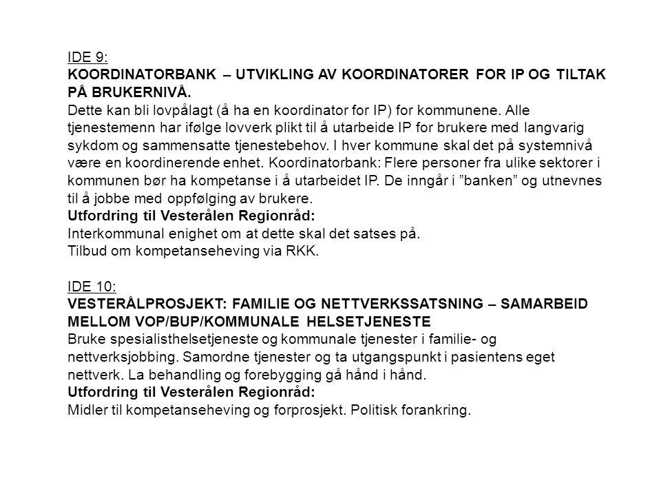 IDE 9: KOORDINATORBANK – UTVIKLING AV KOORDINATORER FOR IP OG TILTAK PÅ BRUKERNIVÅ. Dette kan bli lovpålagt (å ha en koordinator for IP) for kommunene